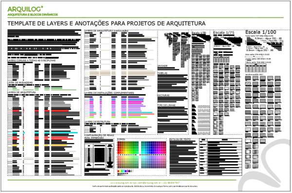 A imagem mostra o Template de Layers e Anotações para Projetos de Arquitetura do Arquilog, em fundo branco.