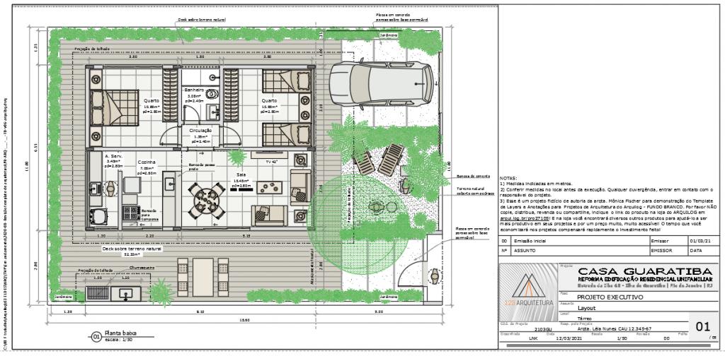 A imagem mostra o Projeto Modelo do Template de Layers e Anotações para Projetos de Arquitetura do Arquilog, em fundo branco.