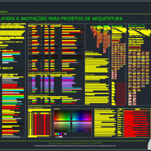 A imagem mostra o Template de Layers e Anotações para Projetos de Arquitetura do Arquilog, em fundo padrão.