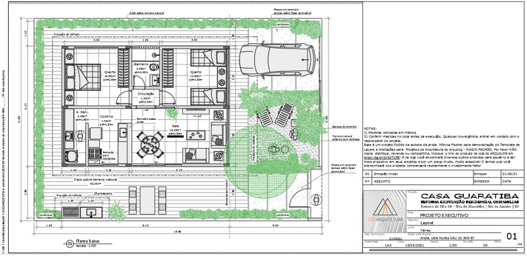 A imagem mostra o Projeto Modelo do Template de Layers e Anotações para Projetos de Arquitetura do Arquilog, em fundo padrão. A imagem aparece branca pois representa a impressão do projeto.