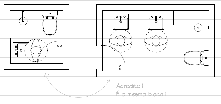 Bloco dinâmico  Arquilog -> Bloco De Cuba De Banheiro Para Autocad
