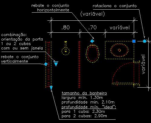 CAD  Bloco Dinâmico  Banheiro 01  Arquilog -> Bloco De Pia De Banheiro Para Autocad
