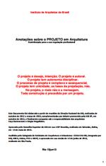 IAB – Anotações sobre o PROJETO em Arquitetura